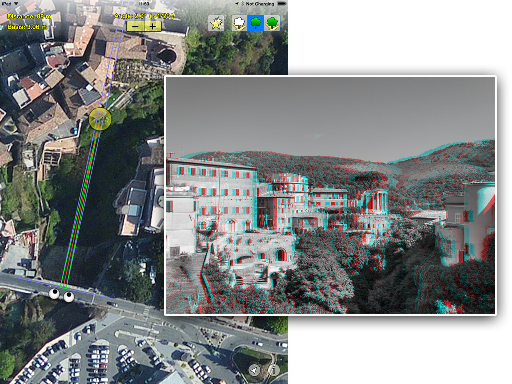 hyper stereo helper screenshot anaglyph, Italy, Tivoli, view from the bridge, villa Gregoriana