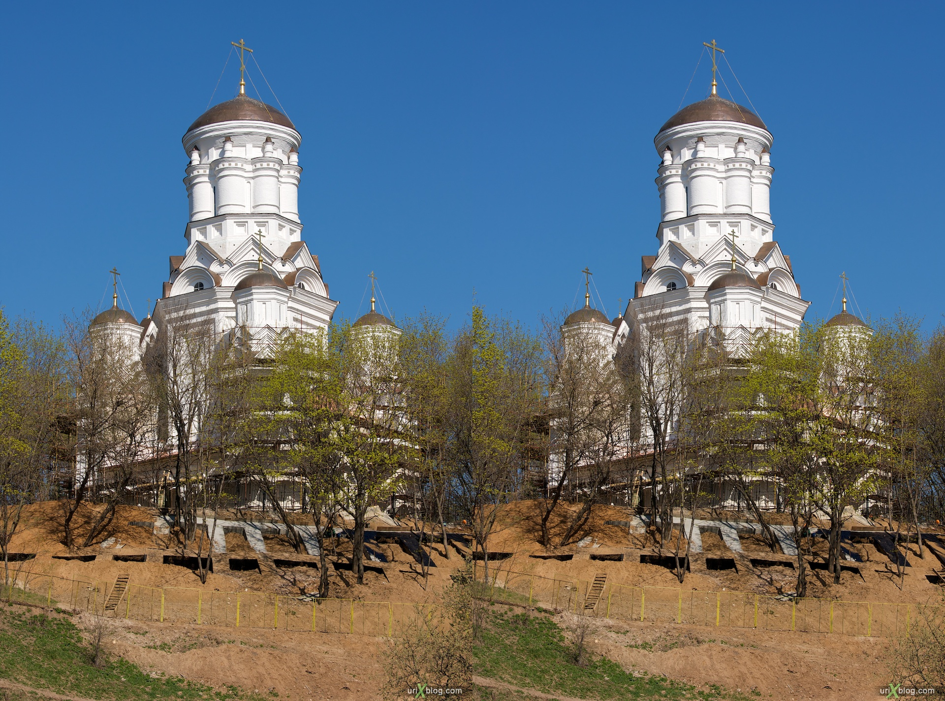 2009 Коломенское Москва парк природа деревья церковь 3D, stereo, cross-eyed, стерео, стереопара церковь