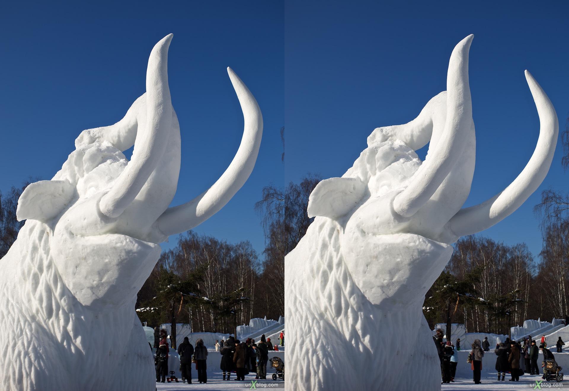 2010 3D, stereo, cross-eyed, стерео, стереопара Moscow, Москва, Снежный городок в Сокольниках