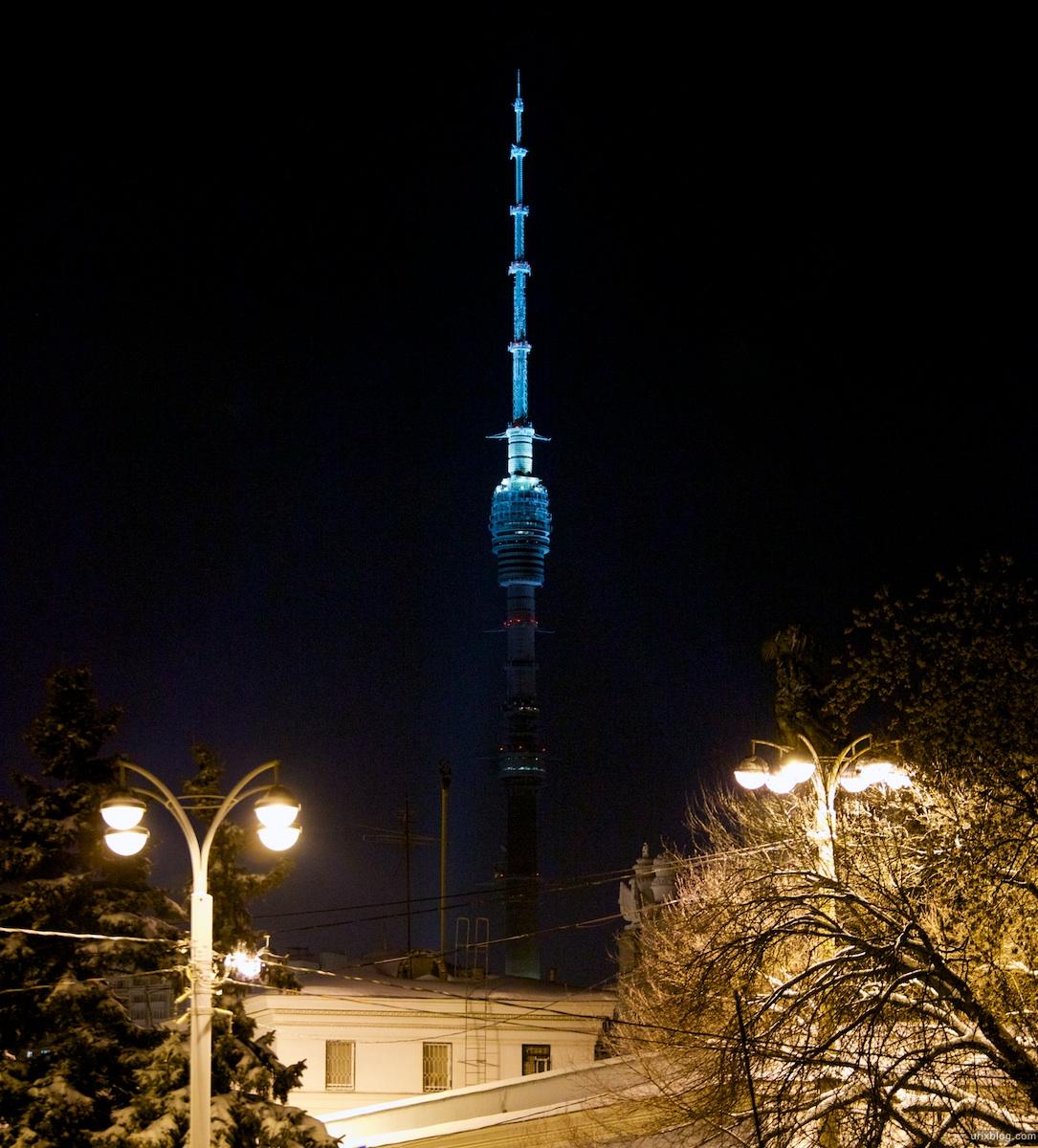 2010 ВДНХ вечер зима снег Москва