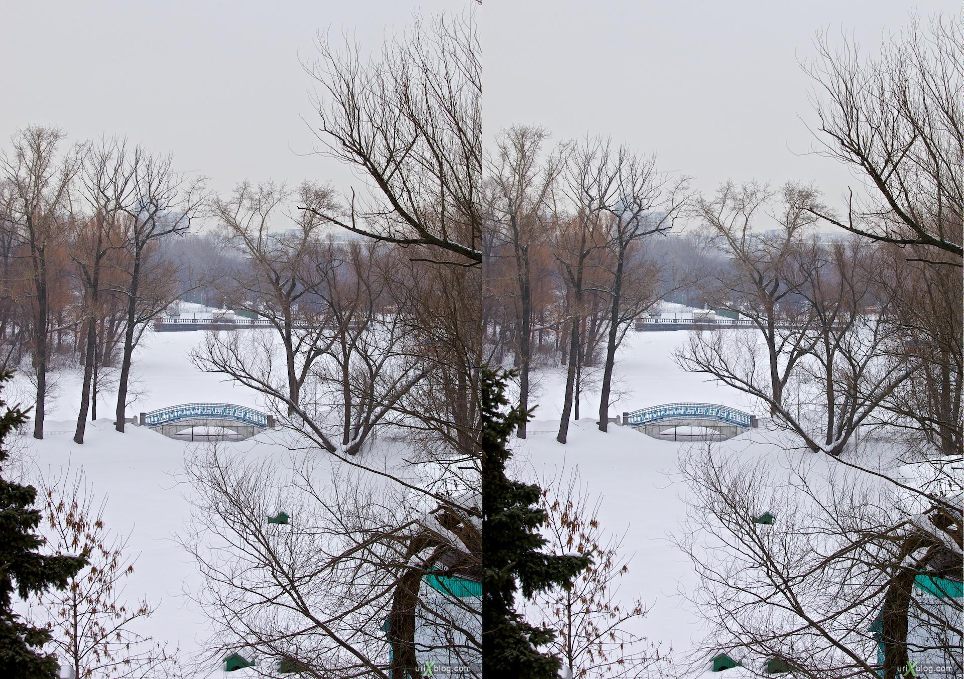 2010 3D, stereo, cross-eyed, стерео, стереопара Москва Андреевский мост парк Горького