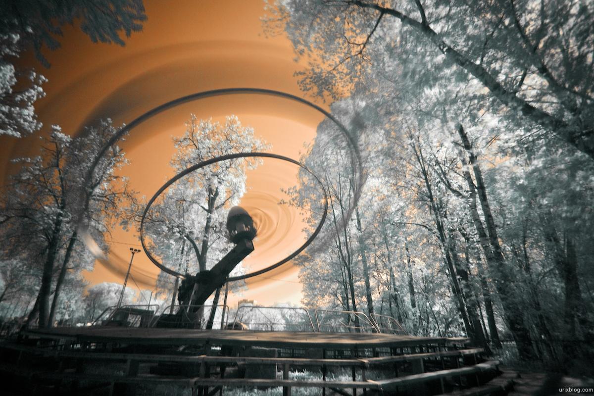 карусель Ostankino park in infrared, инфракрасный парк Останкино, Hoya R72 Москва 2010