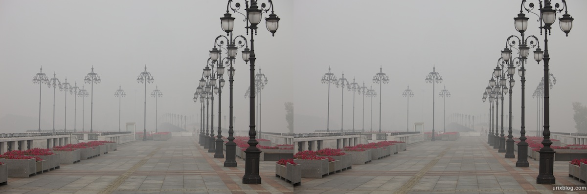 Moscow in dense smog 3D, stereo, cross-eyed, стерео, стереопара, Москва в смоге, дым от пожаров 2010