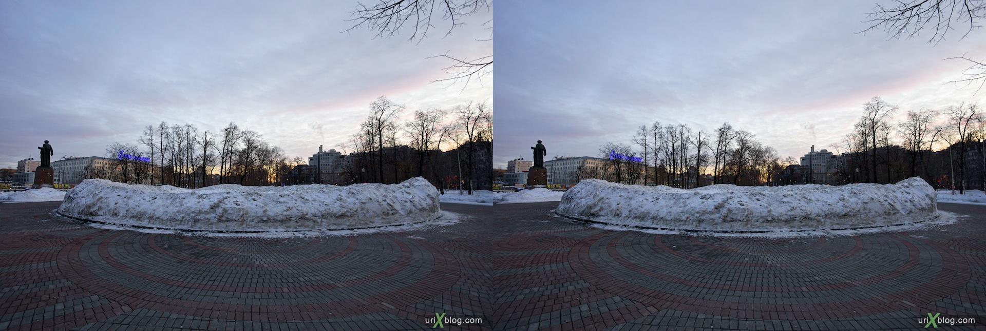 2011 Москва Болотная площадь, 3D, фонтан стерео стереопара 3Д 3D stereo cross-view