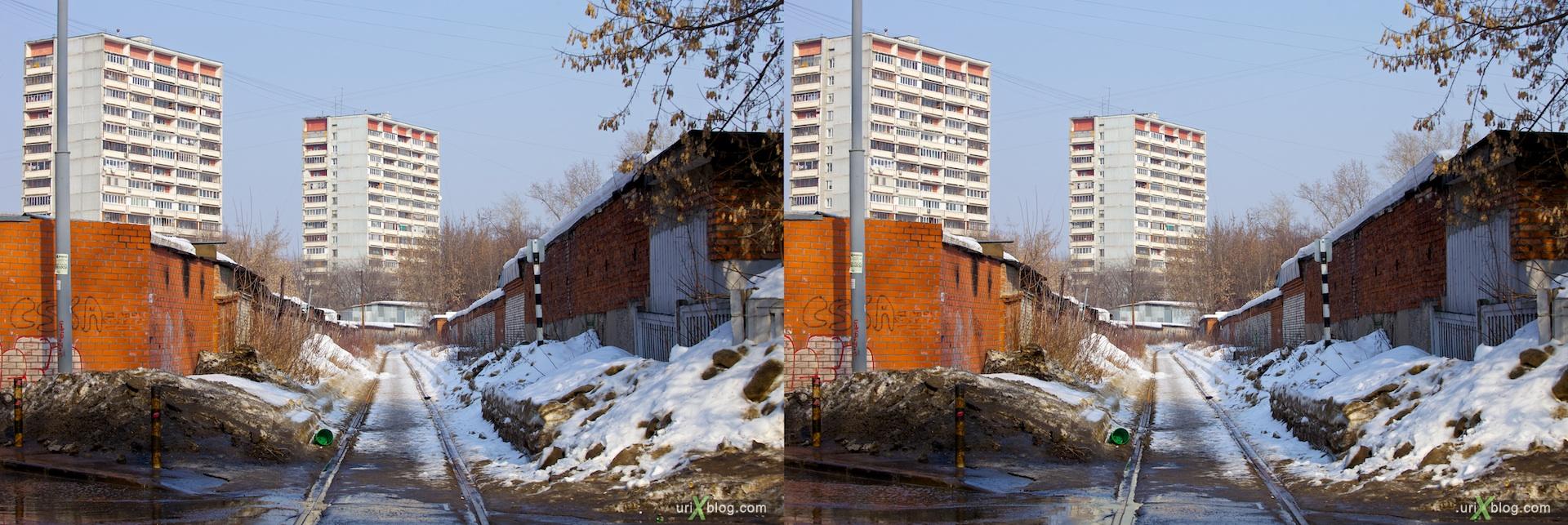 2011 Москва перекрёстная стерео фотография, Moscow cross-eye photograph, железная дорога от Электрозавода, гаражи