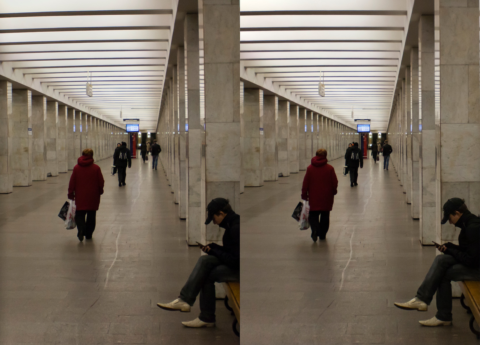 2011 стерео stereo Vladykino metro station, Владыкино, Shot with Loreo 3D lens In A Cap and Canon 5D mark 2