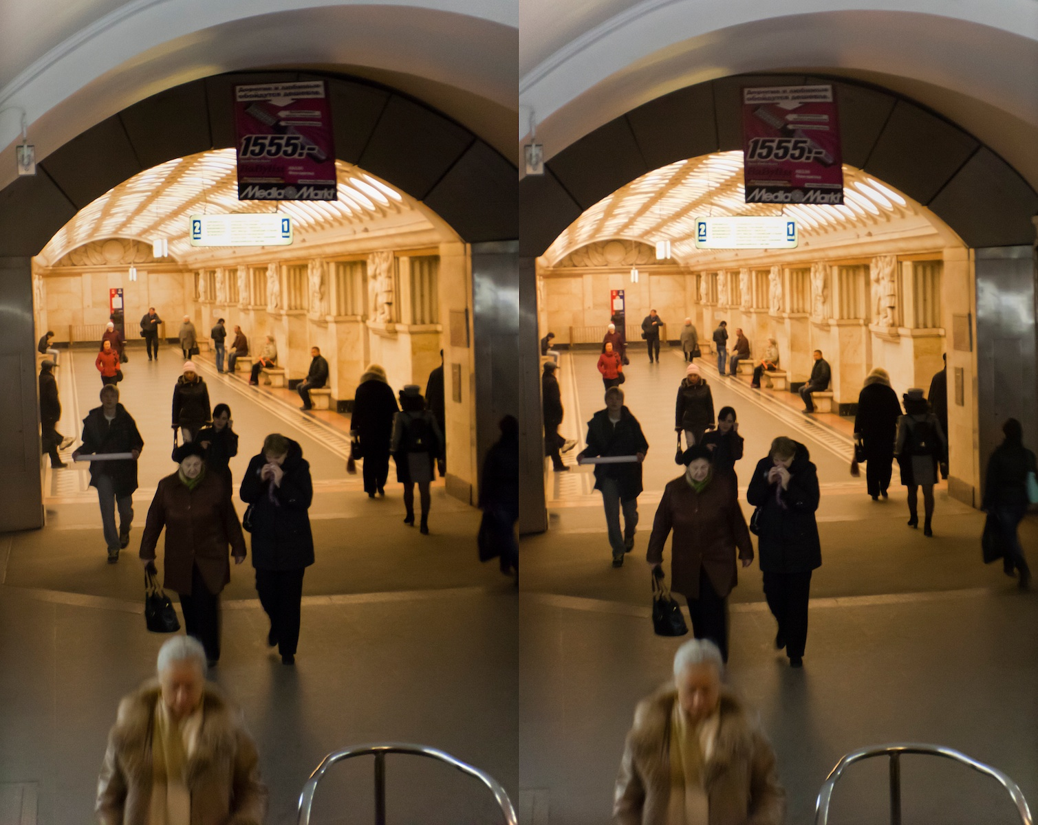2011 стерео stereo Elektrozavodskaya metro station, Электрозаводская, Shot with Loreo 3D lens In A Cap and Canon 5D mark 2