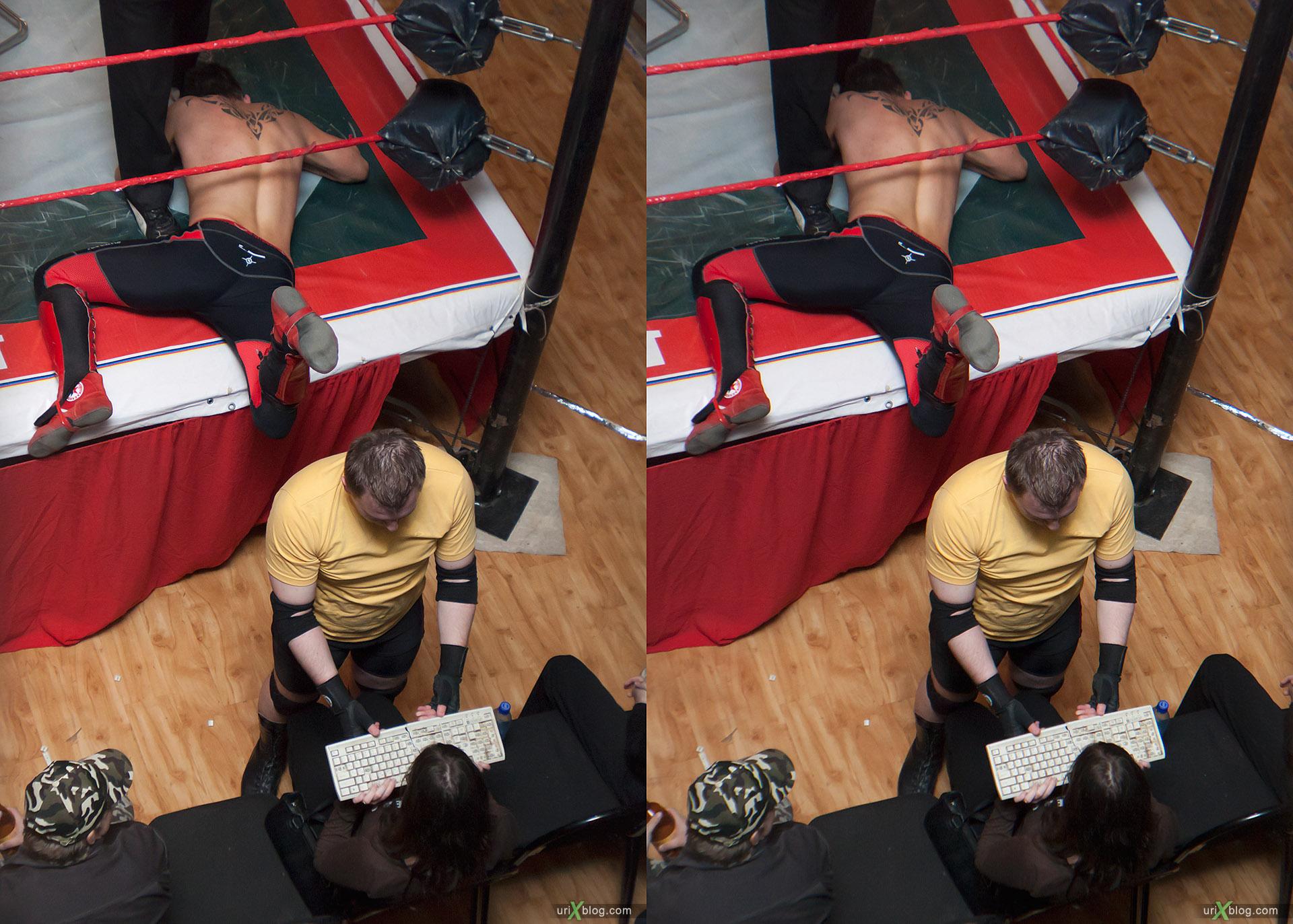 2011 Реслинг Wrestling НФР Опасная зона Moscow, 3D, stereo, cross-eyed, стерео, стереопара, Москва, Loreo 3D lens in a cap