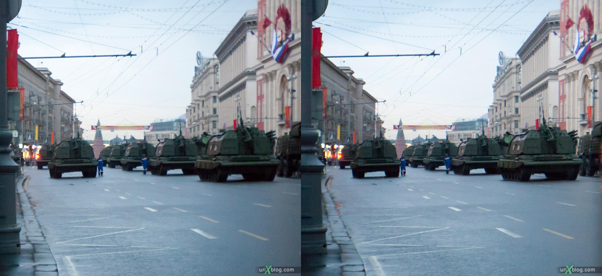 Москва, репетиция парада, Moscow, Rehearsal of the parade вечер 2011 9 мая танк тверская стерео, 3D stereo cross-view стереопара