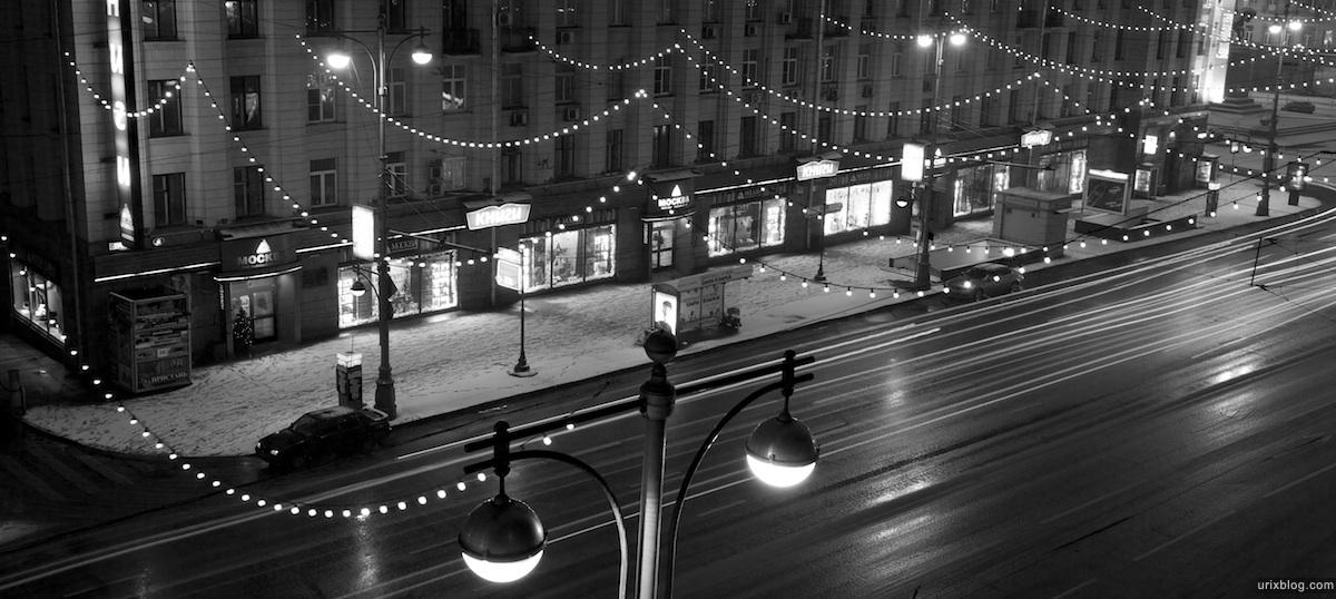 2011 Москва Тверская ночь снег