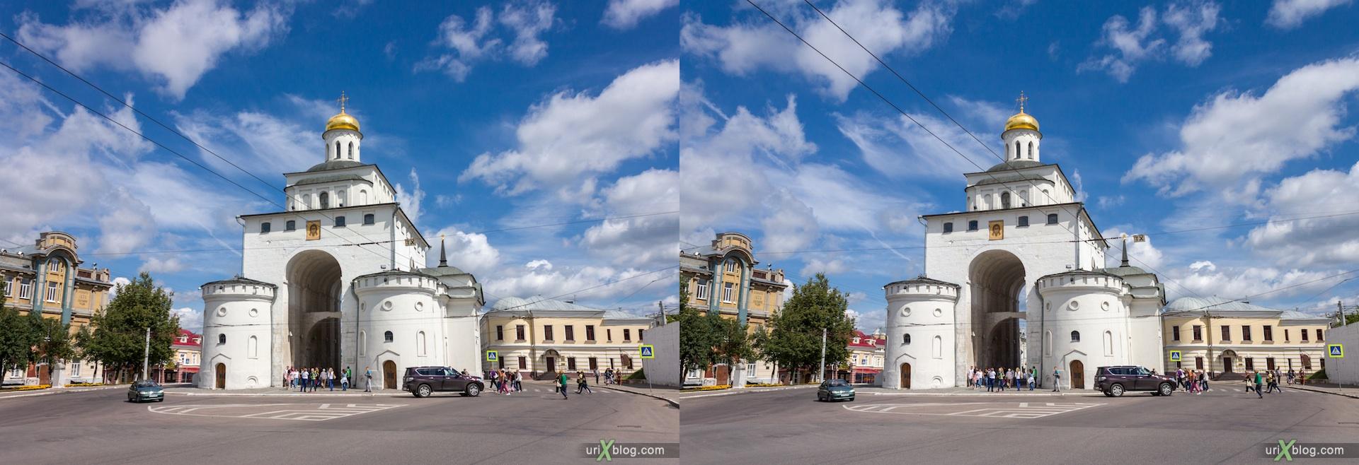 2012 3D stereo stereo pair 3Д стерео церковь храм монастырь владимир Золотые ворота, Church Vladimir