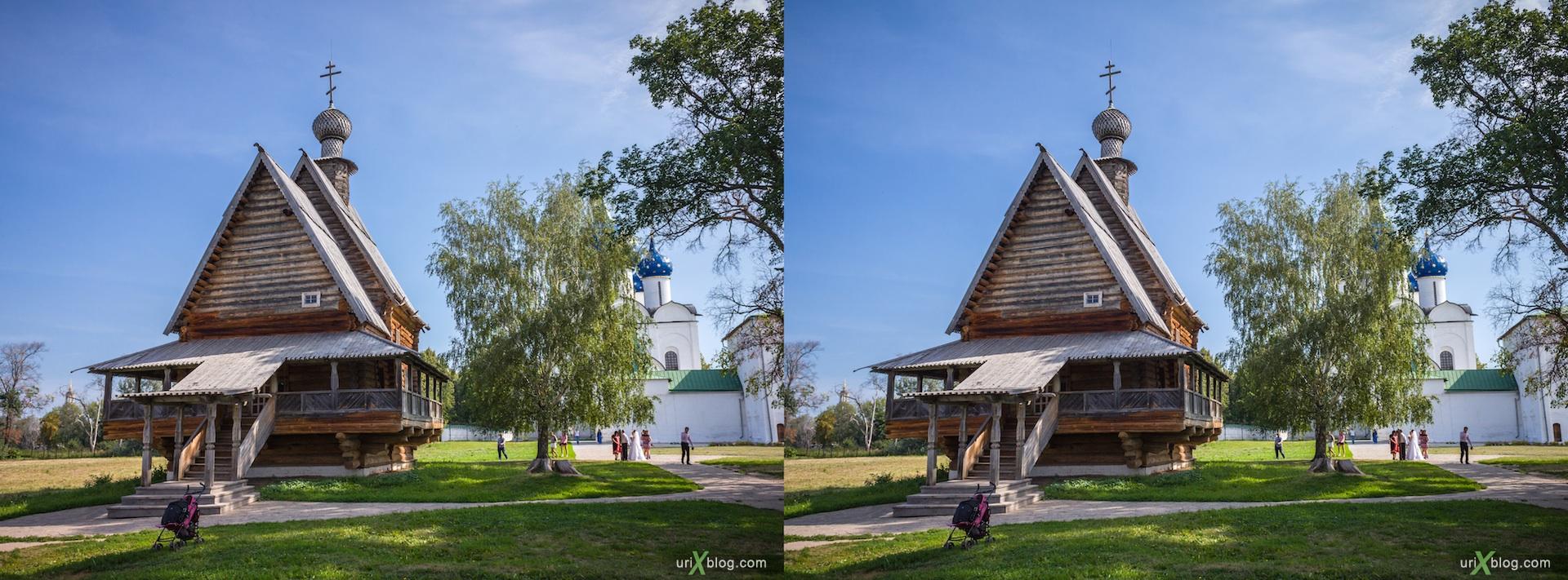 2012 Суздаль Владимирская область собор Никольская деревянная церковь, Суздальский кремль, 3D, stereo, cross-eyed, стерео, стереопара Canon 600D