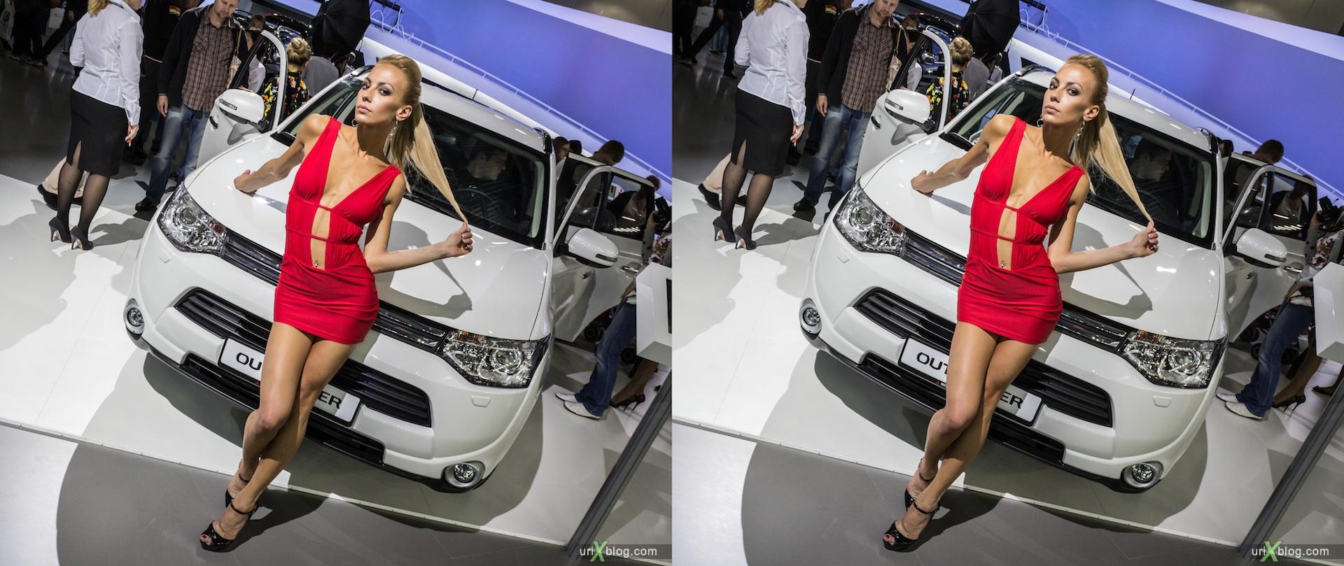 2012, Moscow International Automobile Salon, auto show, Московский международный автомобильный салон, Крокус Экспо, Crocus Expo, модель, девушка, model, girl, 3D, stereo, cross-eyed, стерео, стереопара, машина, car
