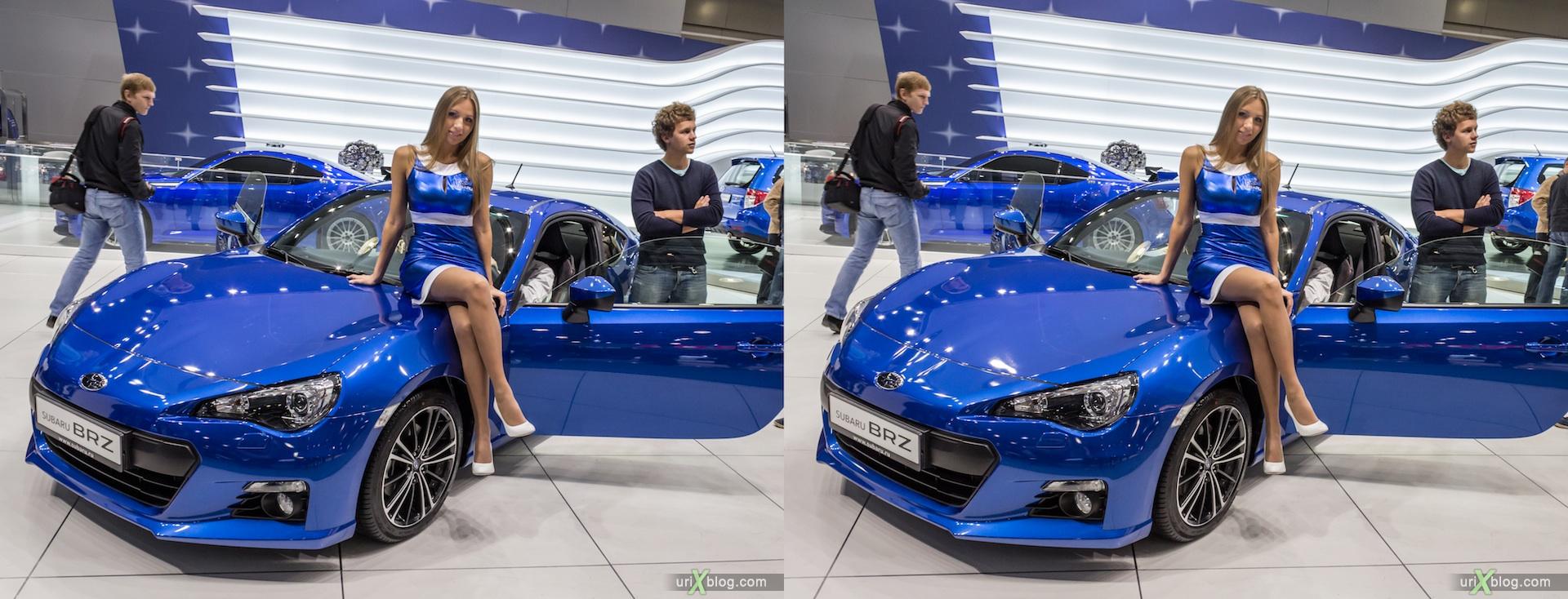 2012, Subaru BRZ, девушка, модель, girl, model, Московский международный автомобильный салон, ММАС, Крокус Экспо, 3D, стерео, стереопара