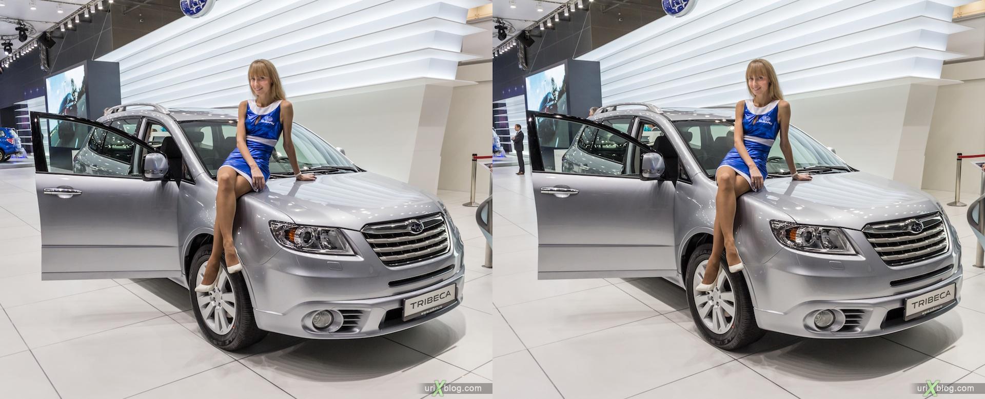 2012, Subaru Tribeca, девушка, модель, girl, model, Moscow International Automobile Salon, auto show, 3D, stereo pair, cross-eyed, crossview