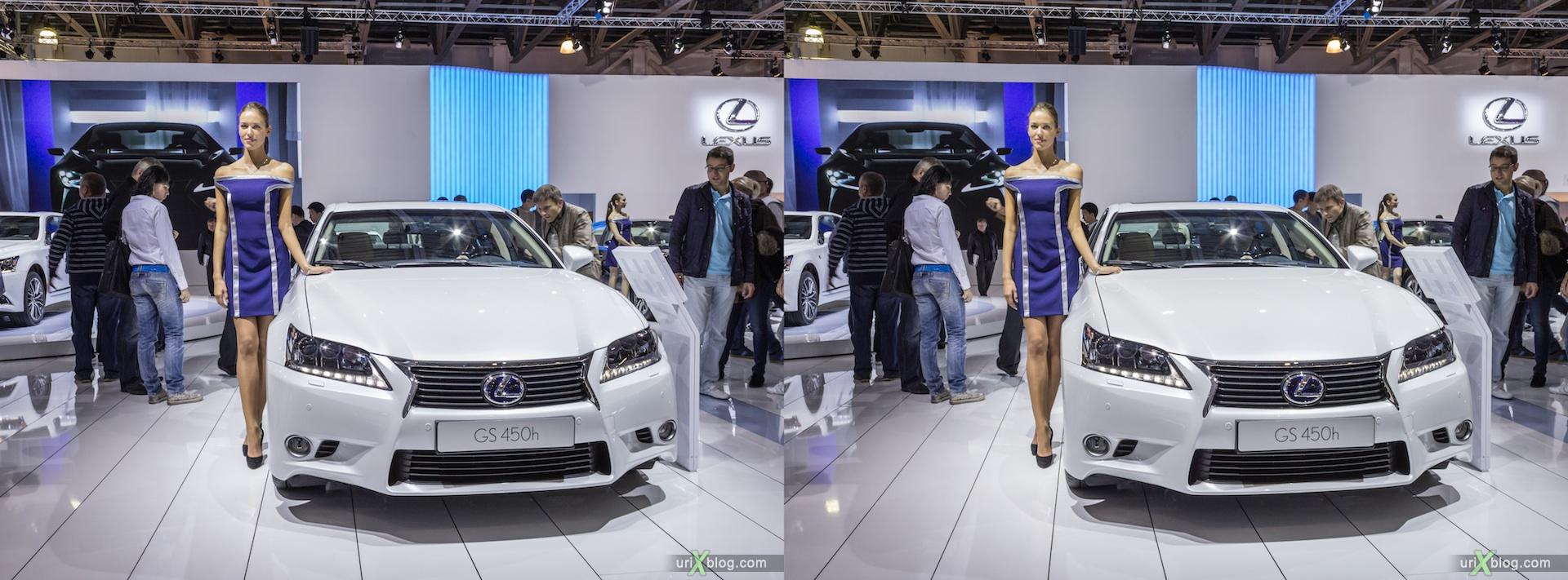 2012, Lexus GS 450h, девушка, модель, girl, model, Moscow International Automobile Salon, auto show, 3D, stereo pair, cross-eyed, crossview