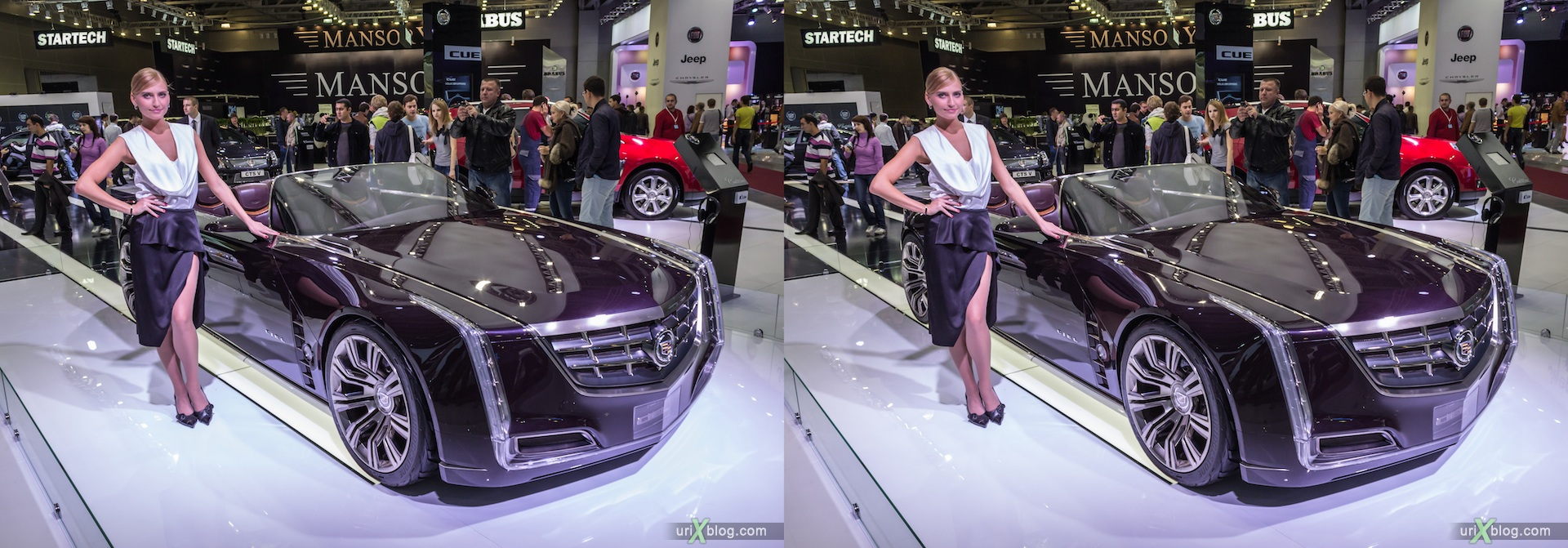 2012, Cadillac CIEL, девушка, модель, girl, model, Moscow International Automobile Salon, auto show, 3D, stereo pair, cross-eyed, crossview