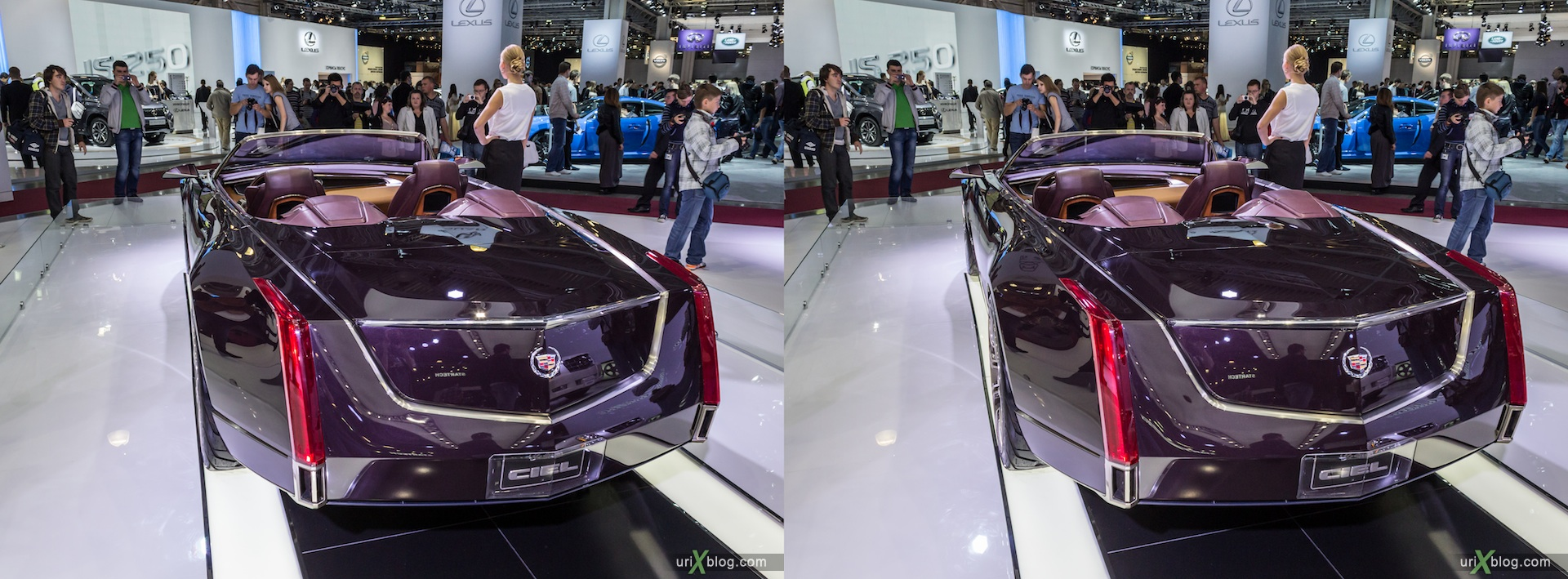 2012, Cadillac CIEL, Moscow International Automobile Salon, auto show, 3D, stereo pair, cross-eyed, crossview