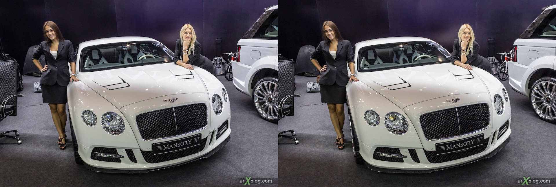 2012, Mansory, девушки, модели, girls, models, Moscow International Automobile Salon, auto show, 3D, stereo pair, cross-eyed, crossview