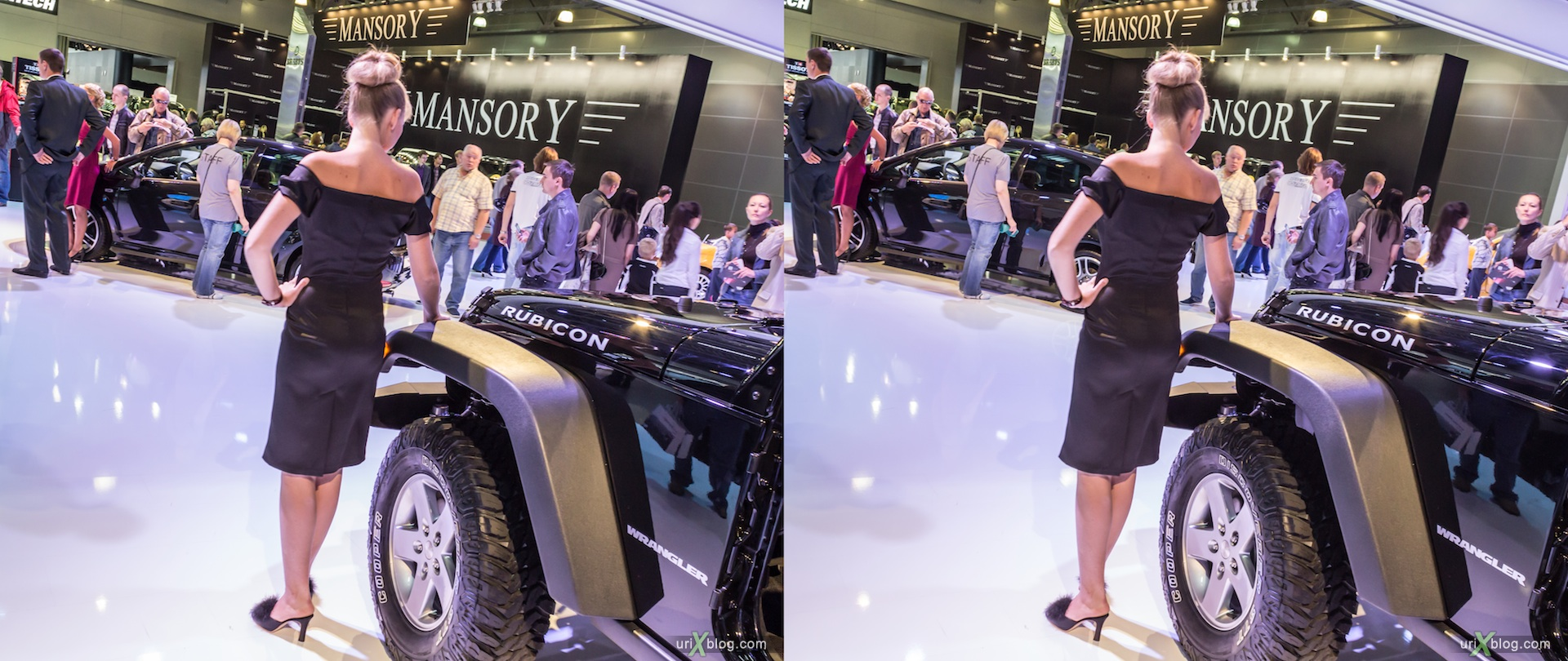 2012, Wrangler Rubicon, девушка, модель, girl, model, Moscow International Automobile Salon, auto show, 3D, stereo pair, cross-eyed, crossview