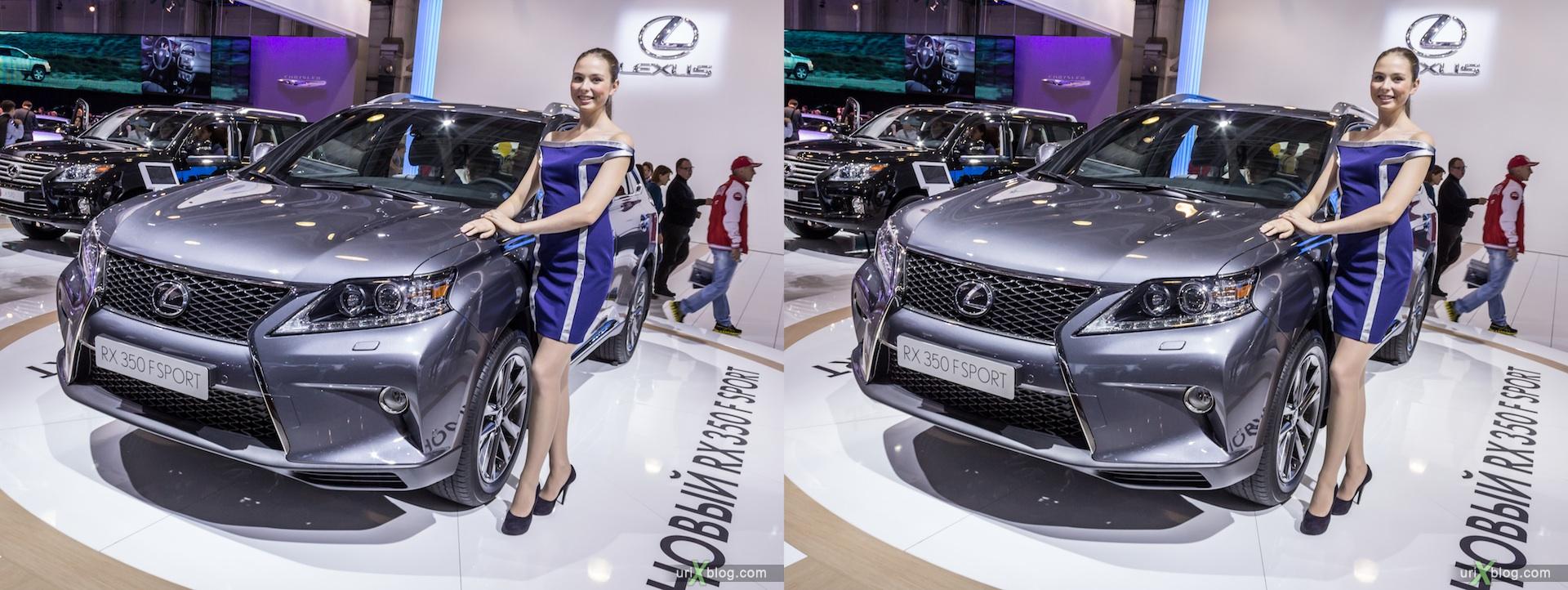 2012, Lexus RX 350 F Sport, девушка, модель, girl, model, Moscow International Automobile Salon, auto show, 3D, stereo pair, cross-eyed, crossview
