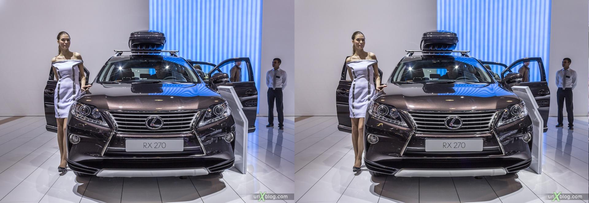 2012, Lexus RX 270, девушка, модель, girl, model, Московский международный автомобильный салон, ММАС, Крокус Экспо, 3D, стерео, стереопара
