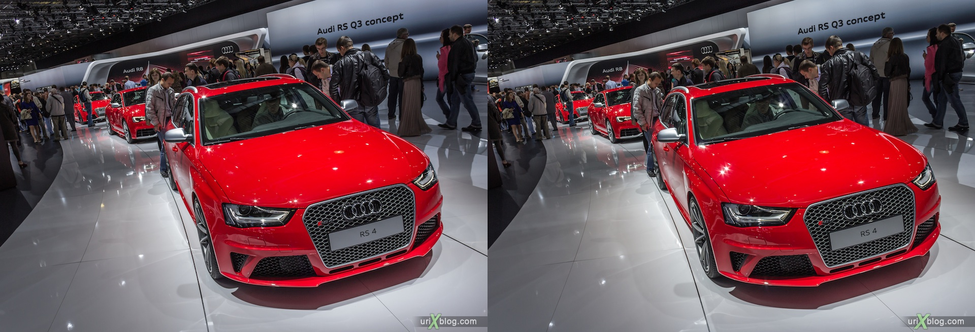 2012, Audi RS 4, Moscow International Automobile Salon, auto show, 3D, stereo pair, cross-eyed, crossview
