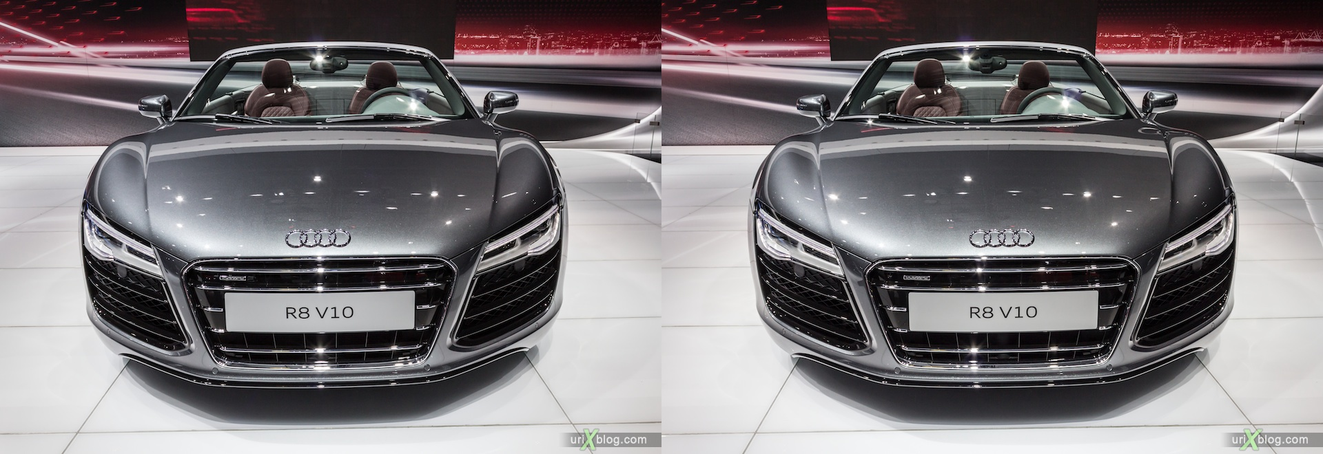 2012, Audi R8 V10, Moscow International Automobile Salon, auto show, 3D, stereo pair, cross-eyed, crossview