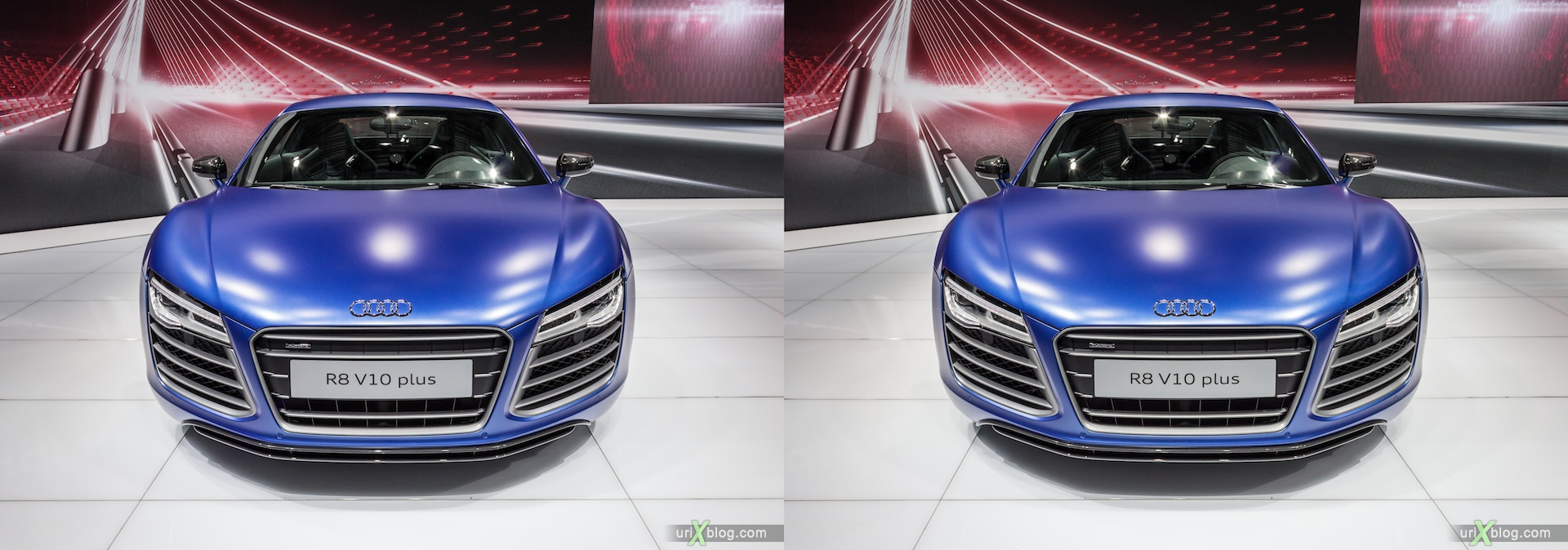 2012, Audi R8 V10 plus, Moscow International Automobile Salon, auto show, 3D, stereo pair, cross-eyed, crossview