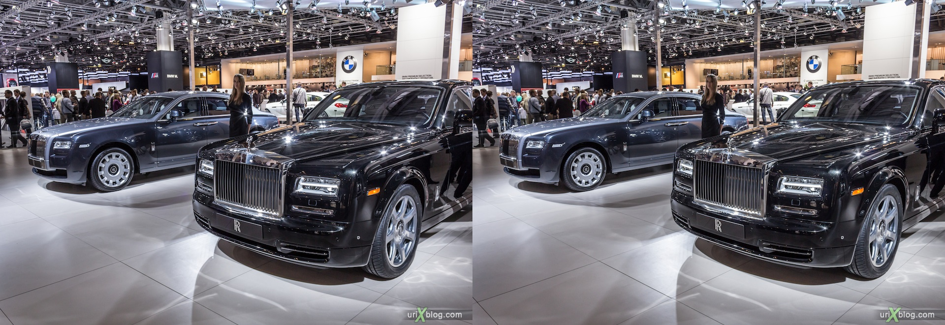 2012, Rolls Royce, девушка, модель, girl, model, Moscow International Automobile Salon, auto show, 3D, stereo pair, cross-eyed, crossview
