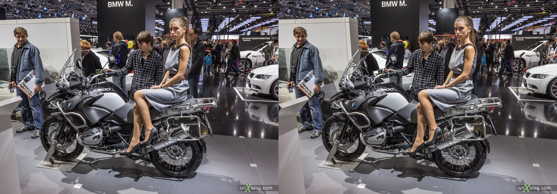 2012, BMW, bike, мотоцикл, Moscow International Automobile Salon, auto show, 3D, stereo pair, cross-eyed, crossview