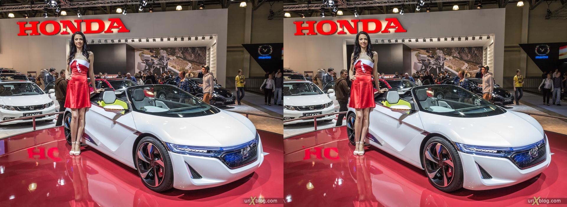 2012, Honda, Moscow International Automobile Salon, девушка, модель, girl, model, auto show, Московский международный автомобильный салон, ММАС, Крокус Экспо, 3D, стерео, стереопара