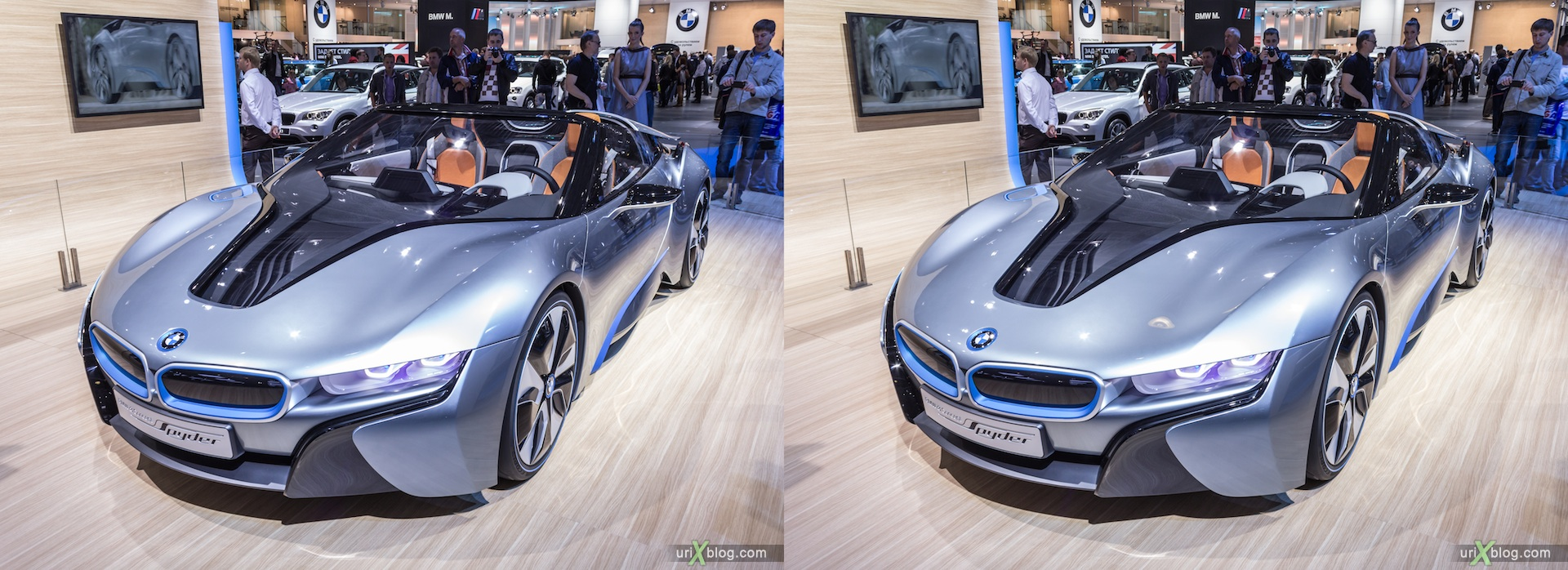 2012, BMW i8 Concept Spyder, Moscow International Automobile Salon, auto show, 3D, stereo pair, cross-eyed, crossview