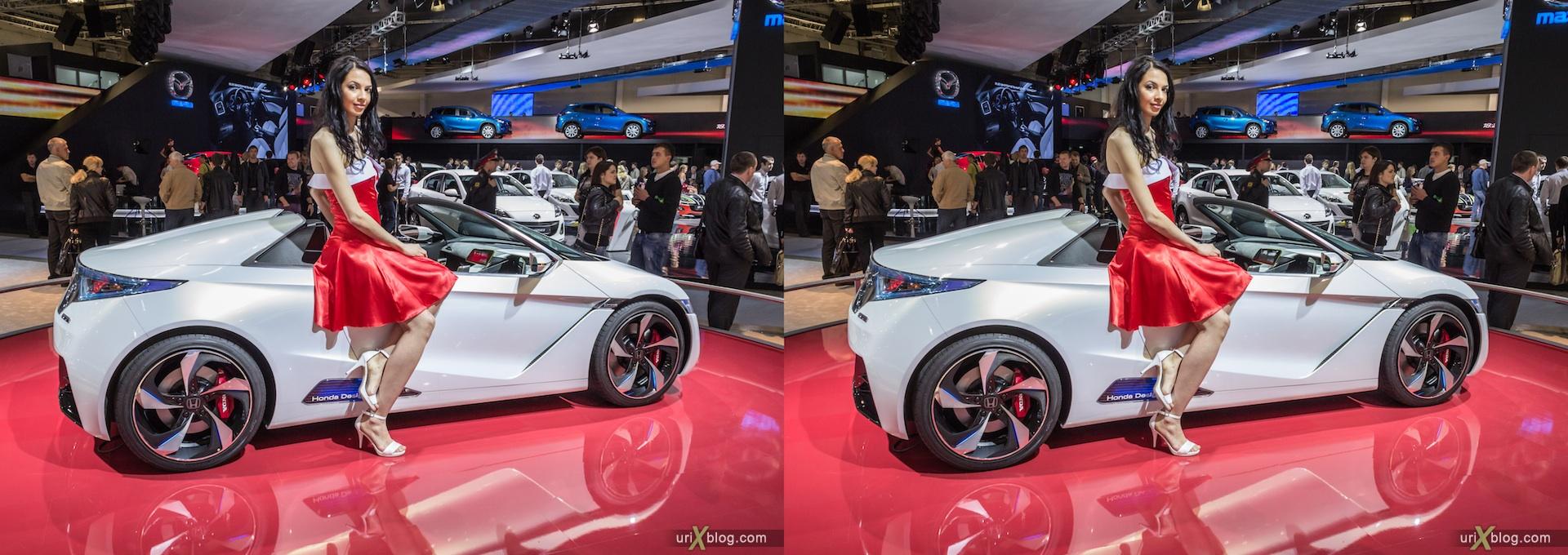 2012, Honda, Moscow International Automobile Salon, девушка, модель, girl, model, auto show, 3D, stereo pair, cross-eyed, crossview