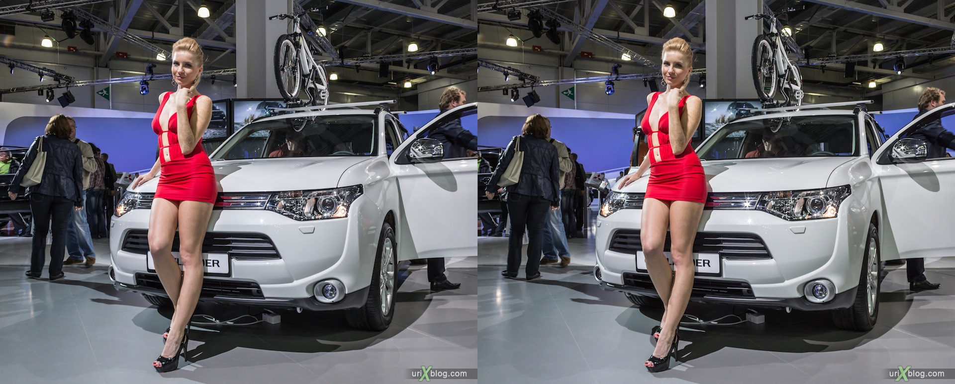 2012, Mitsubishi Outlander, girl, model, Moscow International Automobile Salon, auto show, 3D, stereo pair, cross-eyed, crossview