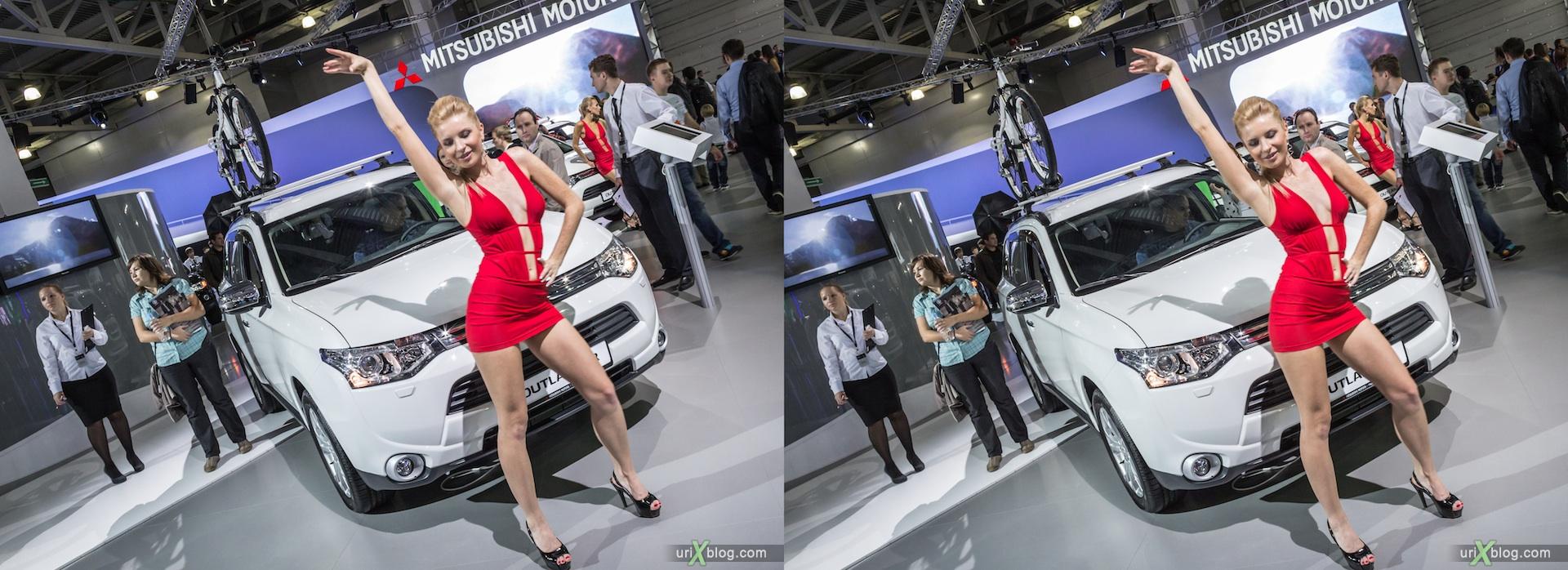 2012, Mitsubishi Outlander, девушка, модель, Московский международный автомобильный салон, ММАС, Крокус Экспо, 3D, стереопара