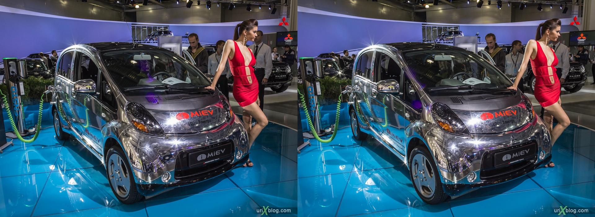 2012, i-Miev electro, девушка, модель, Московский международный автомобильный салон, ММАС, Крокус Экспо, 3D, стереопара