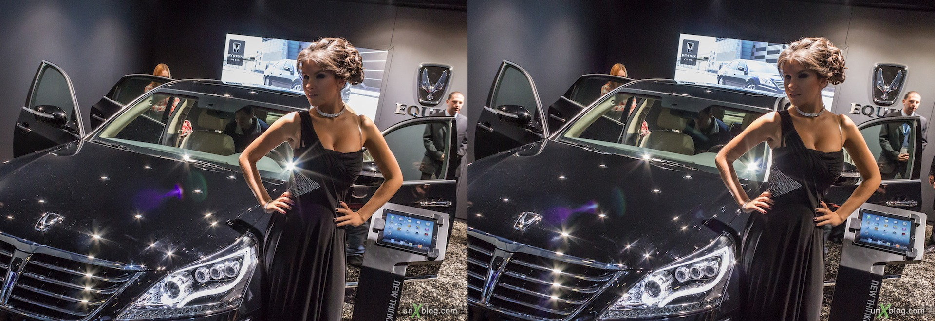 2012, Hyundai Equus, girl, model, Moscow International Automobile Salon, auto show, 3D, stereo pair, cross-eyed, crossview