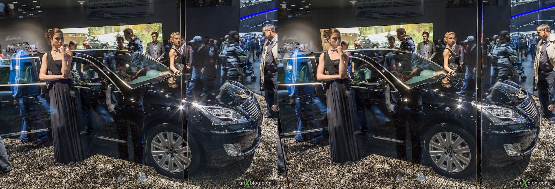2012, Hyundai Limousine, girl, model, Moscow International Automobile Salon, auto show, 3D, stereo pair, cross-eyed, crossview