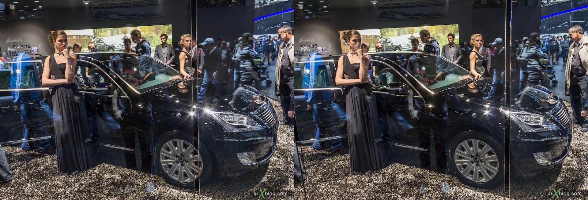 2012, Hyundai Limousine, девушка, модель, Московский международный автомобильный салон, ММАС, Крокус Экспо, 3D, стереопара
