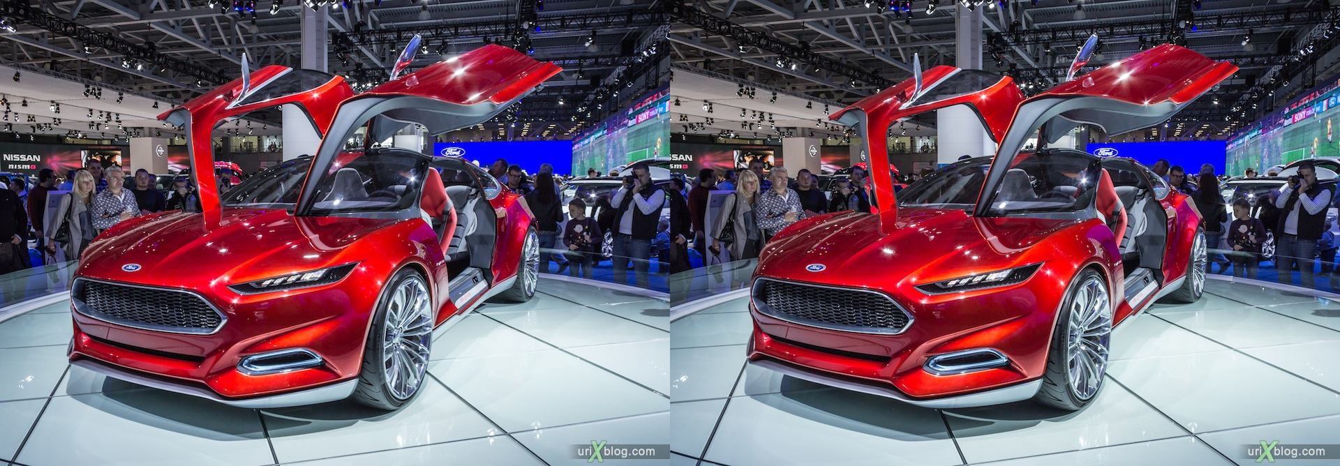 2012, Ford Evos, Moscow International Automobile Salon, auto show, 3D, stereo pair, cross-eyed, crossview
