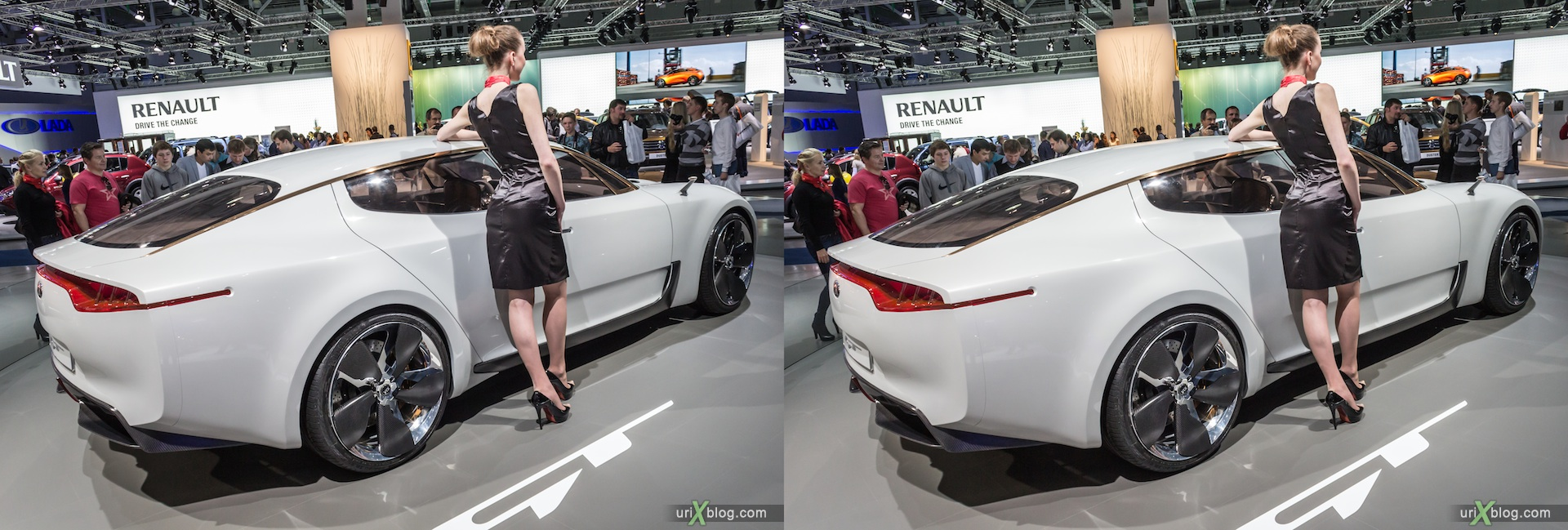 2012, KIA GT, girl, model, Moscow International Automobile Salon, auto show, 3D, stereo pair, cross-eyed, crossview