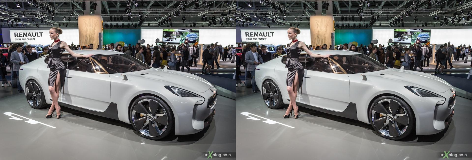 2012, KIA GT, девушка, модель, Московский международный автомобильный салон, ММАС, Крокус Экспо, 3D, стереопара