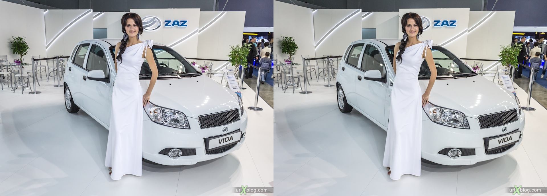 2012, ZAZ VIDA, girl, model, Moscow International Automobile Salon, auto show, 3D, stereo pair, cross-eyed, crossview