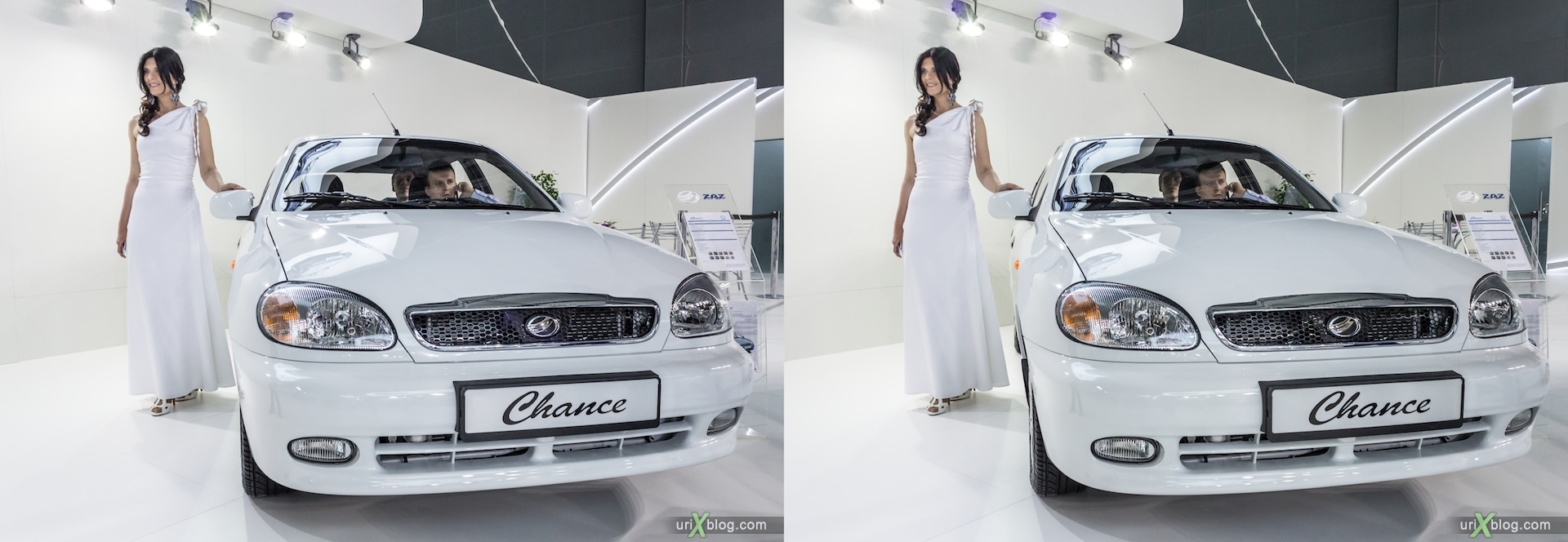 2012, ZAZ Chance, girl, model, Moscow International Automobile Salon, auto show, 3D, stereo pair, cross-eyed, crossview