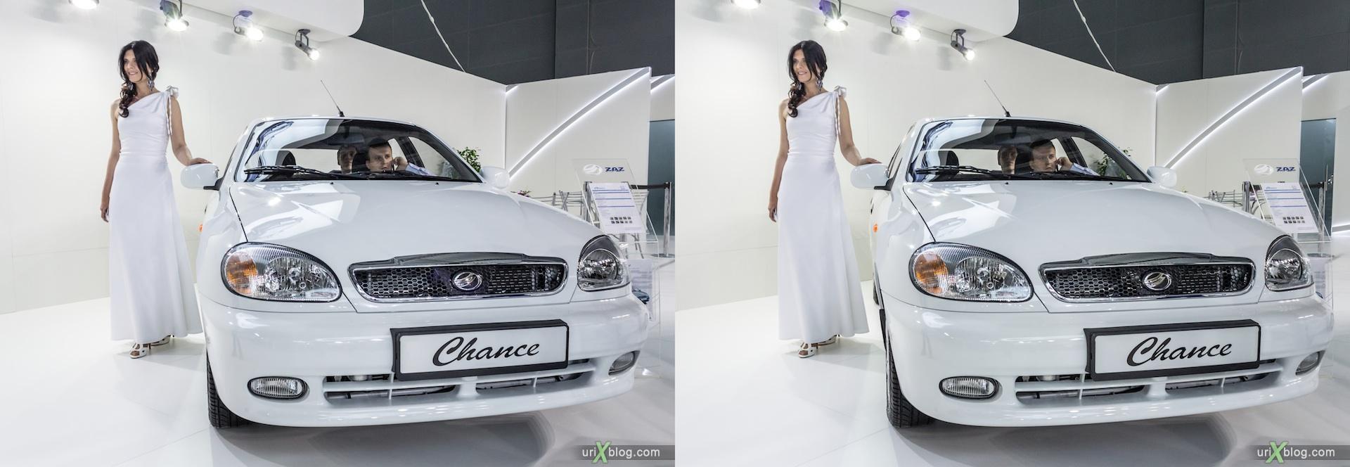 2012, ZAZ Chance, девушка, модель, Московский международный автомобильный салон, ММАС, Крокус Экспо, 3D, стереопара