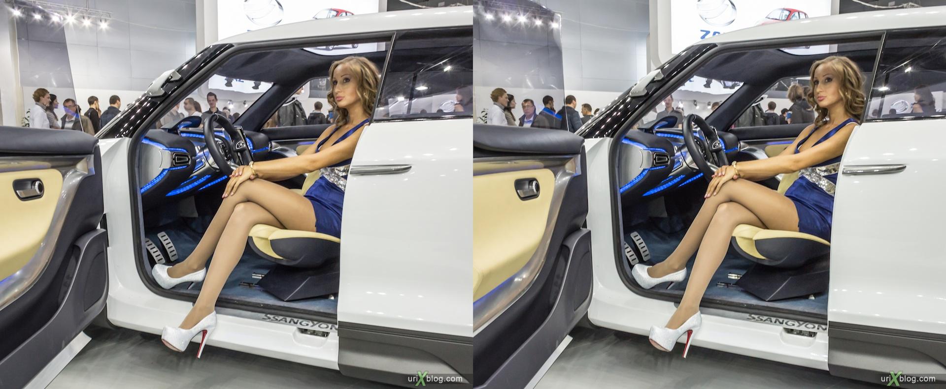 2012, девушка, модель, Московский международный автомобильный салон, ММАС, Крокус Экспо, 3D, стереопара