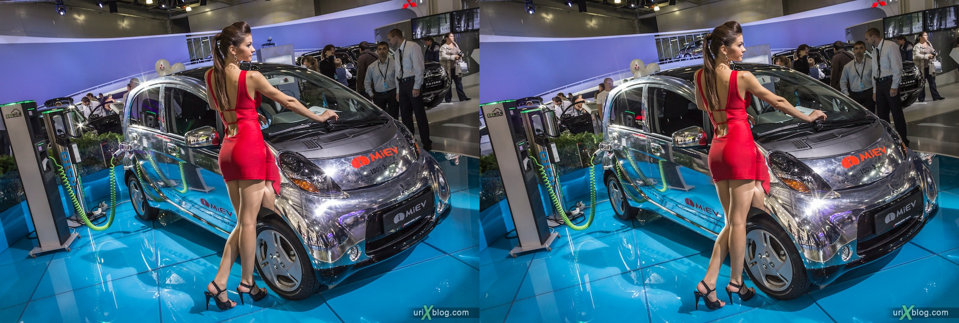 2012, i-Miev electro, girl, model, Moscow International Automobile Salon, auto show, 3D, stereo pair, cross-eyed, crossview