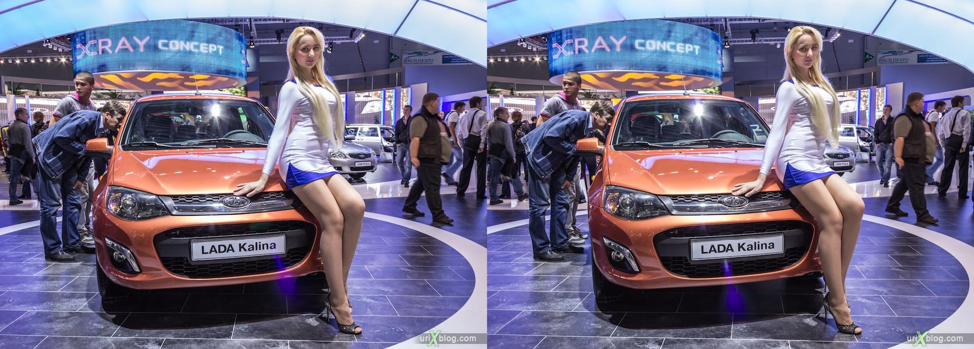 2012, Lada Kalina, девушка, модель, Московский международный автомобильный салон, ММАС, Крокус Экспо, 3D, стереопара