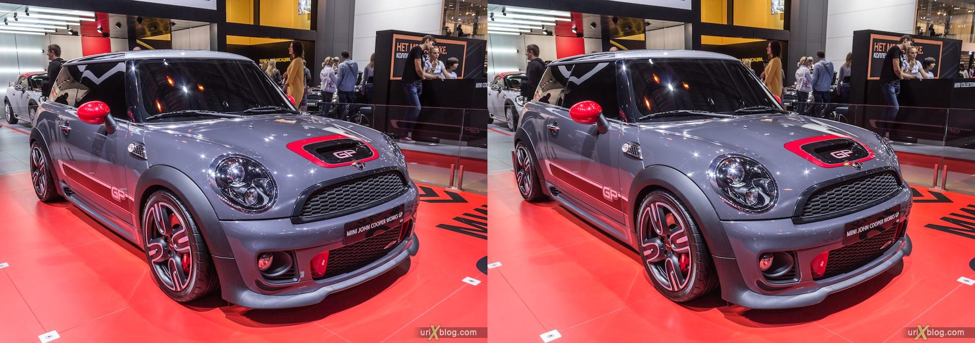 2012, Mini John Cooper Works GP, Московский международный автомобильный салон, ММАС, Крокус Экспо, 3D, стереопара